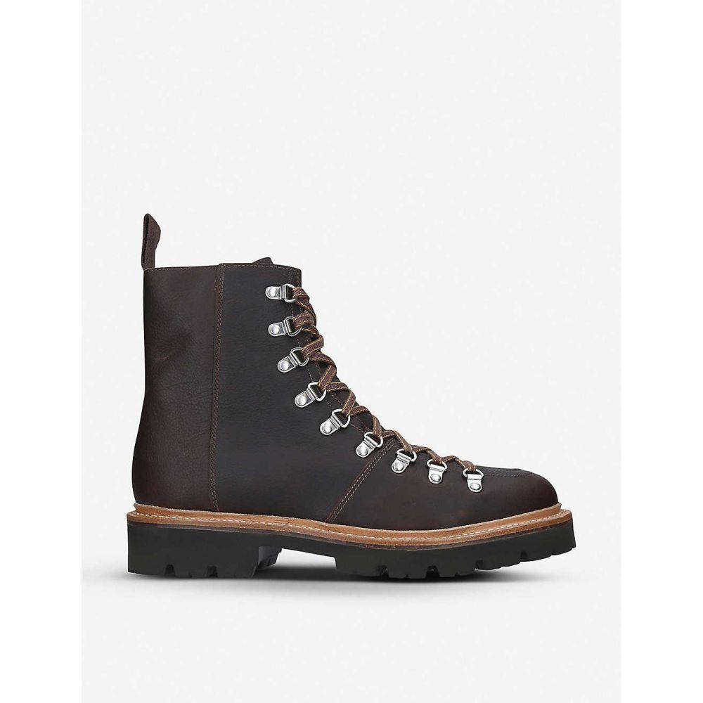 グレンソン GRENSON メンズ ハイキング・登山 ブーツ シューズ・靴【Brady grained-leather hiking boots】BROWN