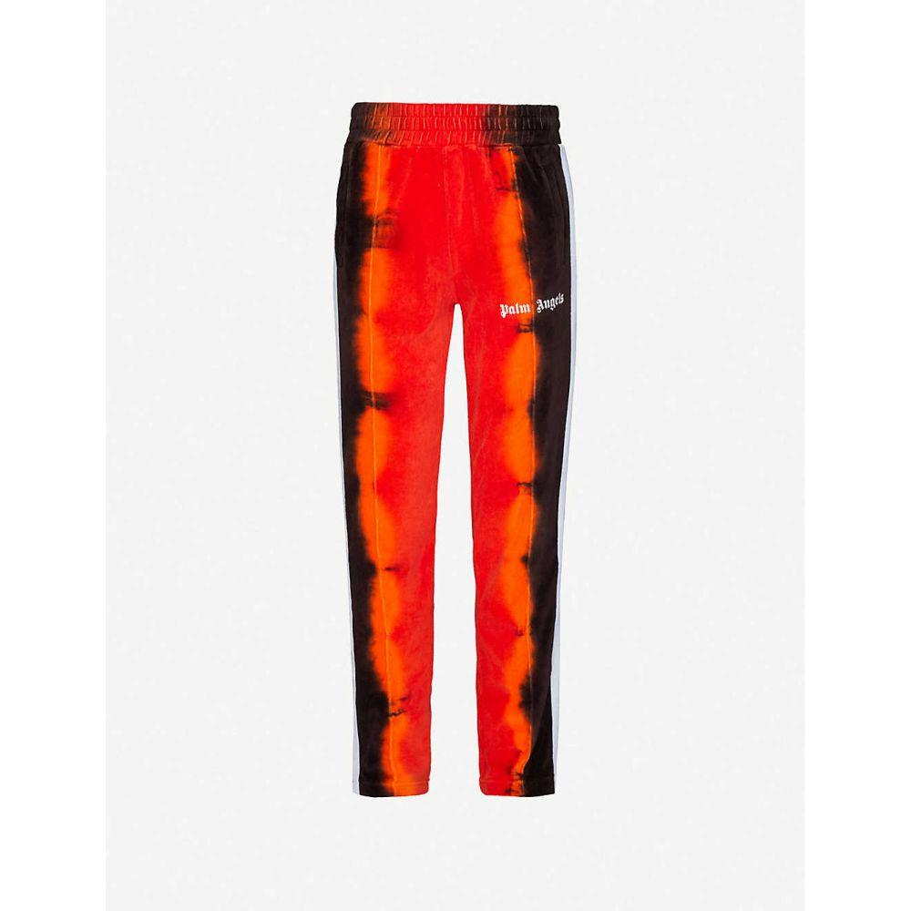 パーム エンジェルス PALM ANGELS メンズ スウェット・ジャージ ボトムス・パンツ【Logo-print tie-and-dye velvet jogging bottoms】Red Black