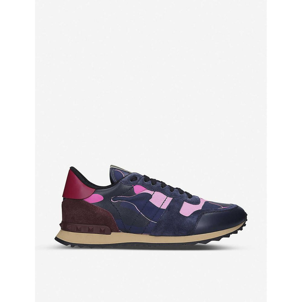 ヴァレンティノ VALENTINO メンズ スニーカー シューズ・靴【Rockrunner camouflage-print suede and leather trainers】FUSHIA