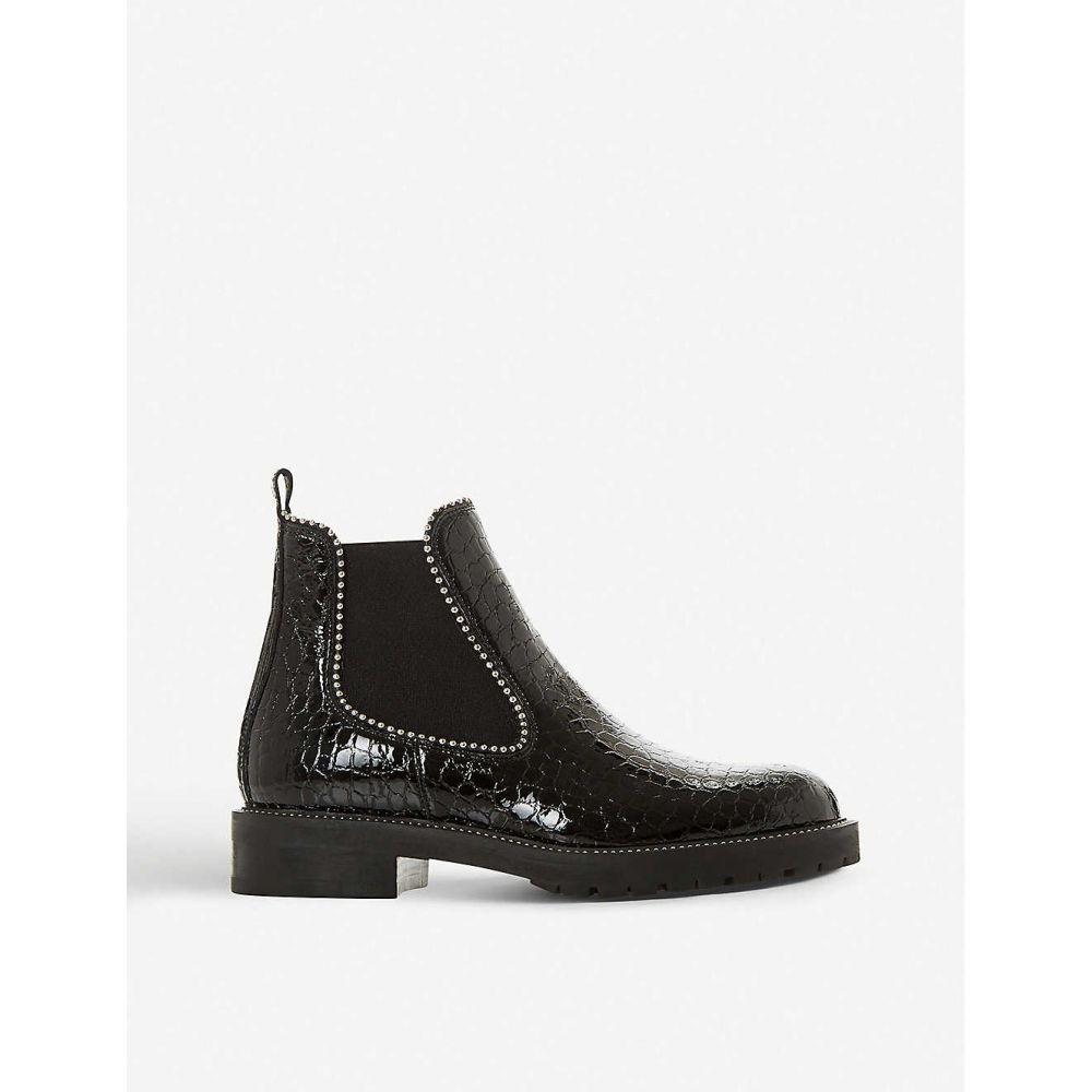 デューン DUNE メンズ ブーツ チェルシーブーツ シューズ・靴【Prestige crocodile-embossed leather Chelsea boots】BLACK/PATENT LEATHER
