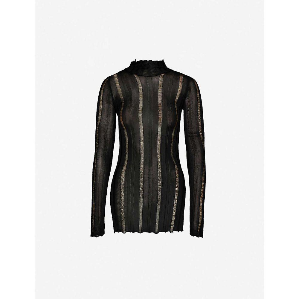 ヤンリ YANG LI レディース トップス 【High-neck striped panelled woven top】BLACK