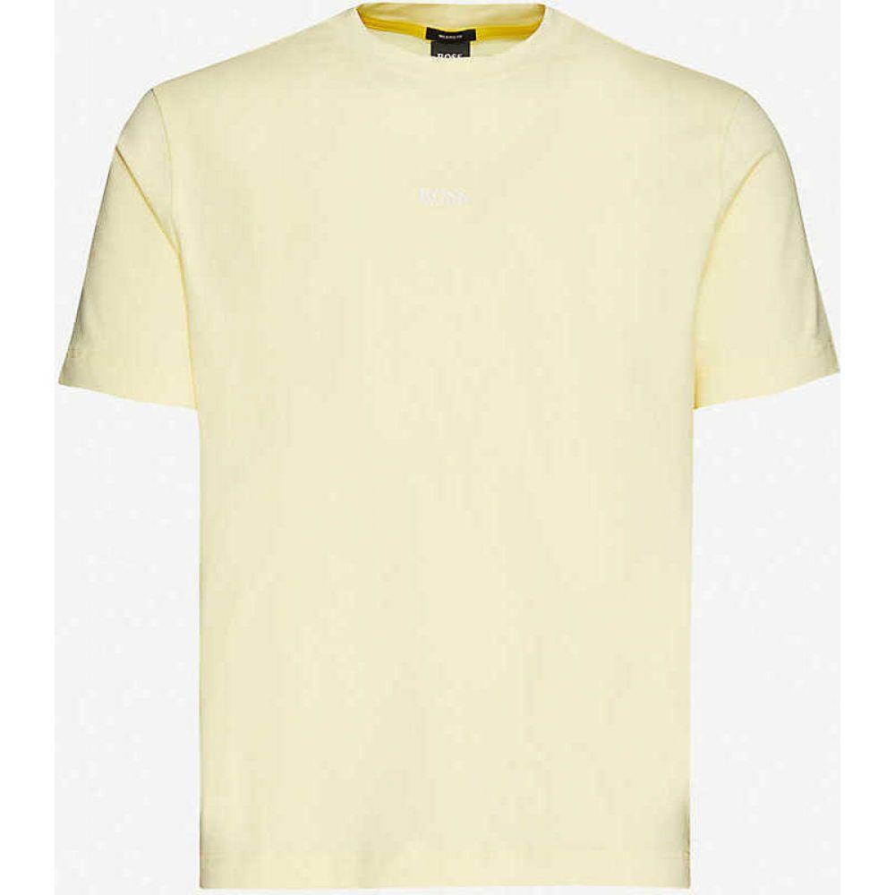 ヒューゴ ボス BOSS メンズ Tシャツ トップス【Logo-print stretch-cotton T-shirt】Light/Pastel Yellow