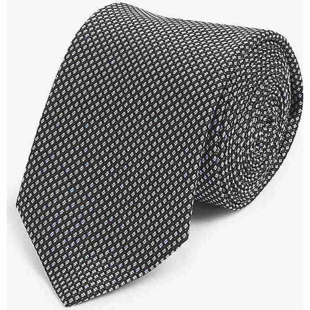 ヒューゴ ボス HUGO メンズ ネクタイ 【Diamond jacquard silk tie】Black