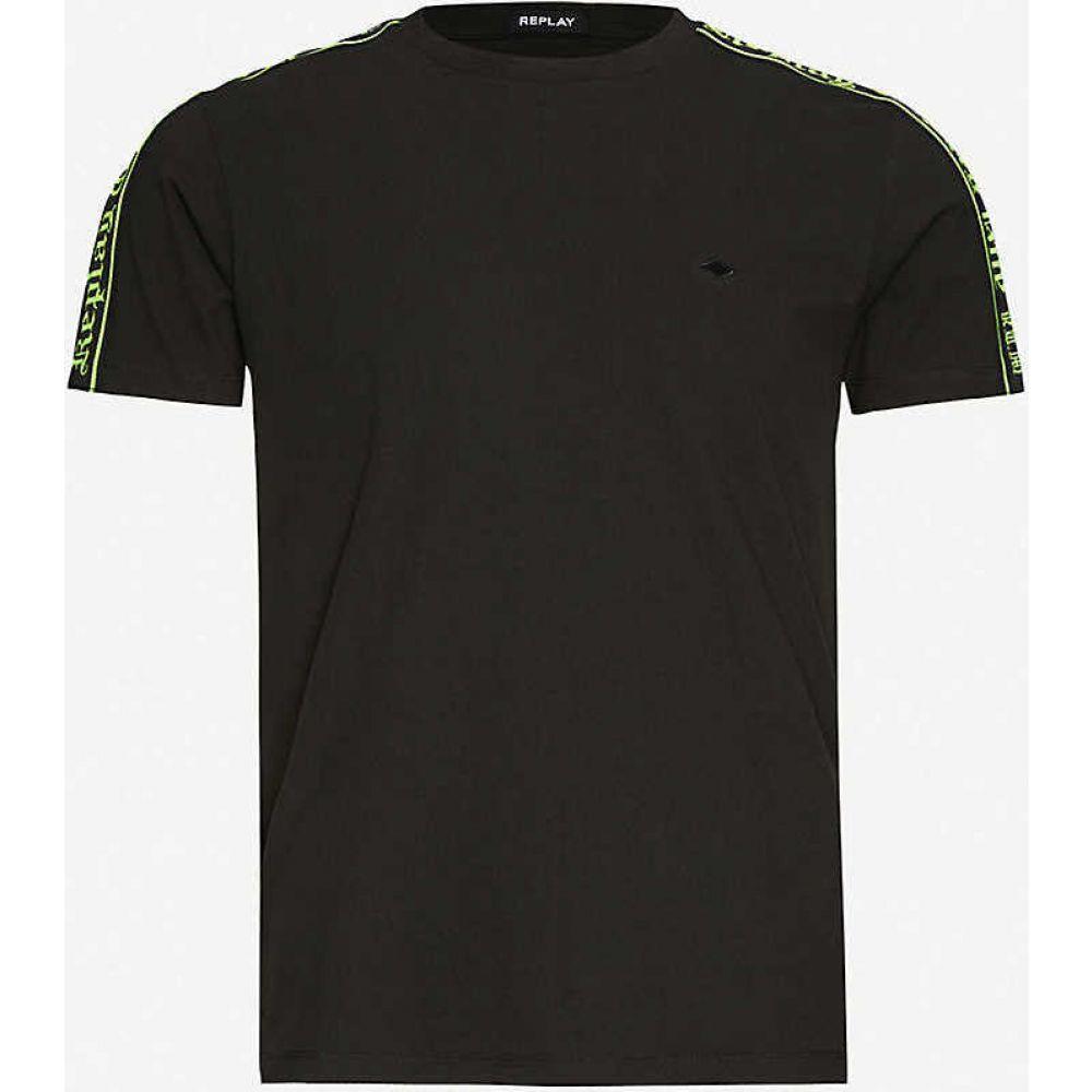 リプレイ REPLAY メンズ Tシャツ トップス【Taped shoulder cotton-jersey T-shirt】BLACKBOARD