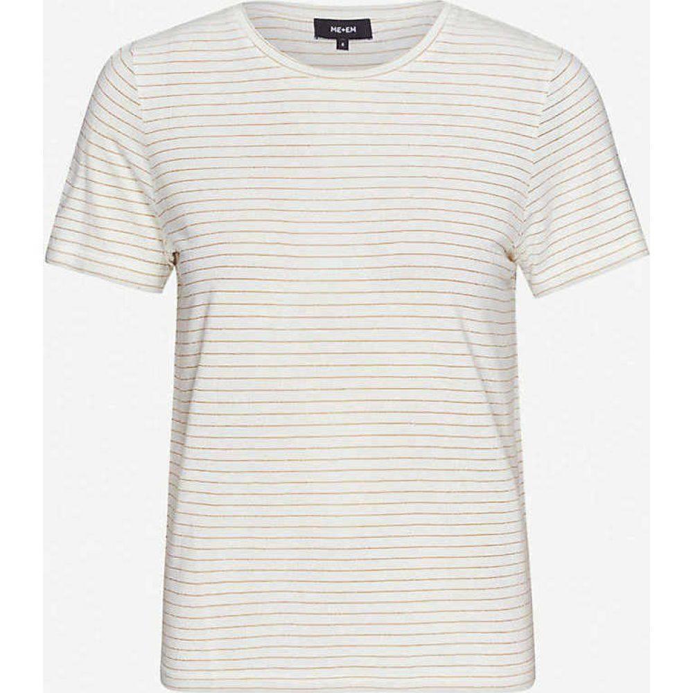 エムイーアンドイーエム ME AND EM レディース Tシャツ トップス【Striped jersey T-shirt】WHITE/GOLD