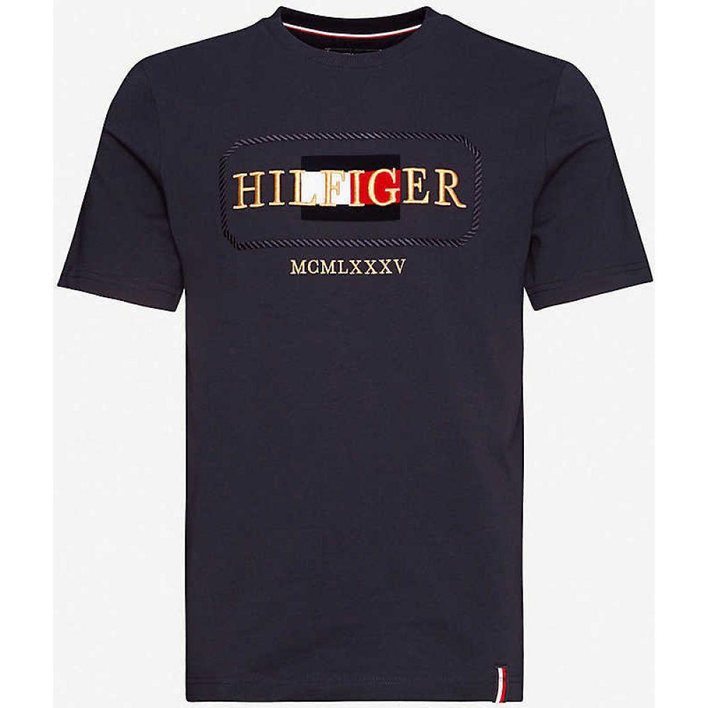 トミー ヒルフィガー TOMMY HILFIGER メンズ Tシャツ トップス【Icon logo-print cotton-jersey T-shirt】Desert Sky