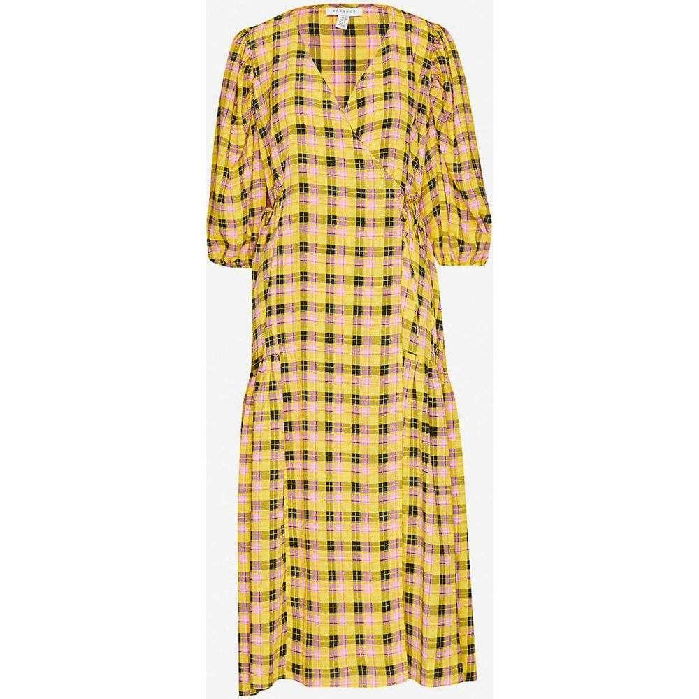 トップショップ TOPSHOP レディース ワンピース ミドル丈 ワンピース・ドレス【Gingham-print woven midi dress】YELLOW