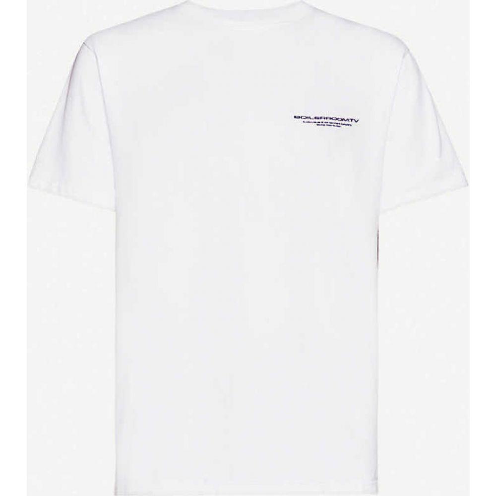 ボイラールーム BOILER ROOM メンズ Tシャツ トップス【Security brand-print cotton-jersey T-shirt】White