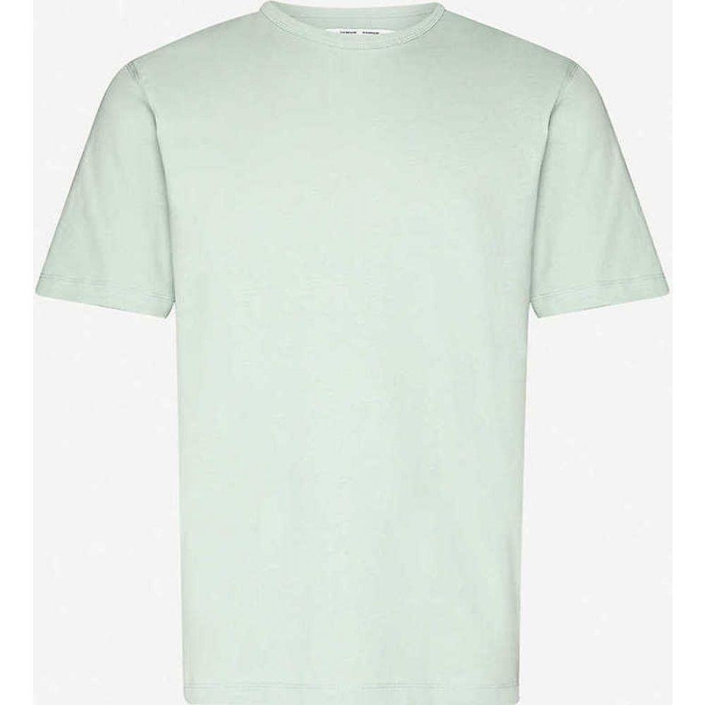 サムソエ&サムソエ SAMSOE & SAMSOE メンズ Tシャツ トップス【Hugo crewneck cotton-jersey T-shirt】Frosty Green