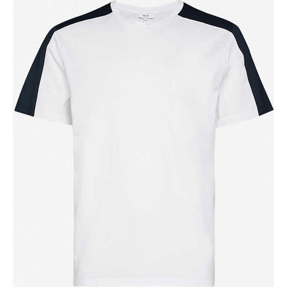 リース REISS メンズ Tシャツ トップス【Contrast-panel cotton-jersey T-shirt】WHITE
