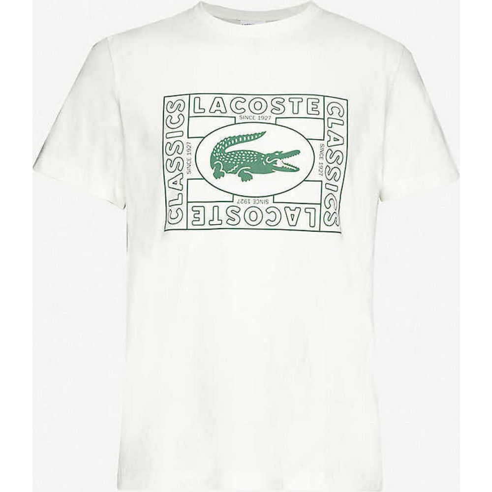 ラコステ LACOSTE メンズ Tシャツ トップス【Logo-print cotton-jersey T-shirt】Off White