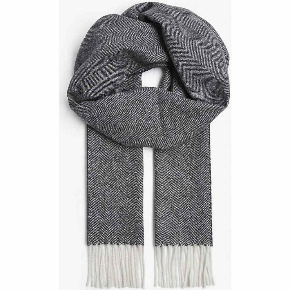 イートン ETON レディース マフラー・スカーフ・ストールHerringbone wool scarf BlackeW9IHED2bY
