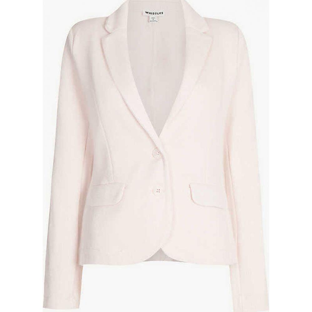 ホイッスルズ WHISTLES レディース スーツ・ジャケット アウター【Notch-lapels slim-fit cotton-blend jacket】PALE PINK