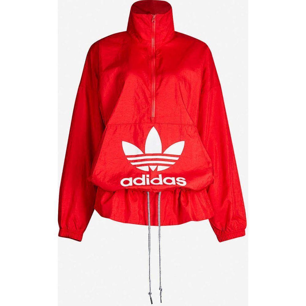 アディダス ADIDAS ORIGINALS レディース ジャケット シェルジャケット アウター【Logo-print shell jacket】SCARLET
