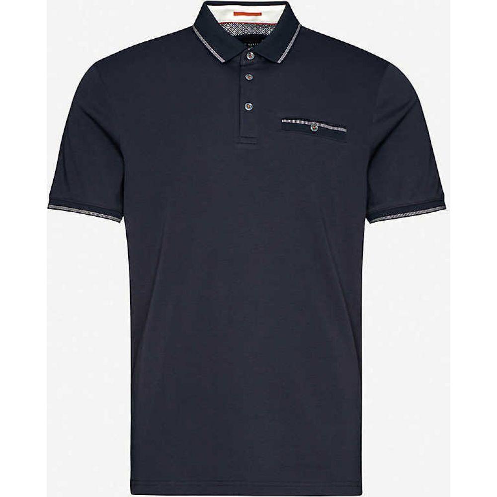 テッドベーカー TED BAKER メンズ ポロシャツ トップス【Contrast-trim cotton polo shirt】NAVY