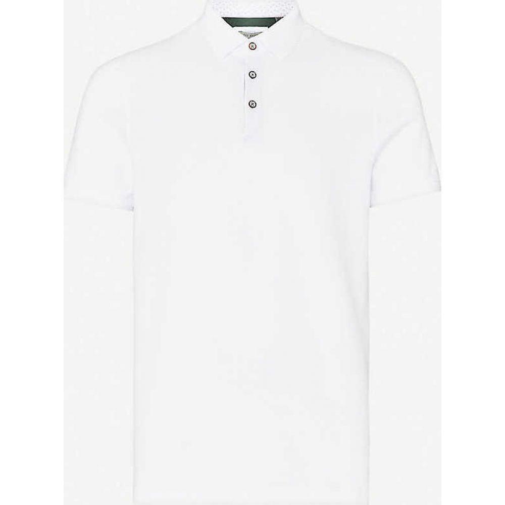 テッドベーカー TED BAKER メンズ ポロシャツ トップス【Textured cotton-pique polo shirt】WHITE