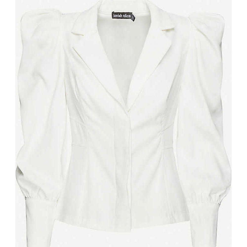 ラヴィッシュアリス LAVISH ALICE レディース ブラウス・シャツ トップス【Puffed-sleeve crepe shirt】White