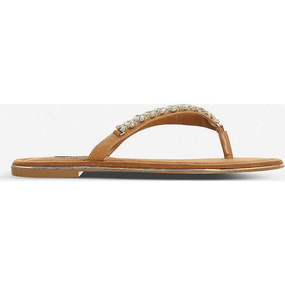 デューン DUNE レディース ビーチサンダル シューズ・靴【Newbey diamante-embellished leather flip-flops】TAN-MICRO FIBRE