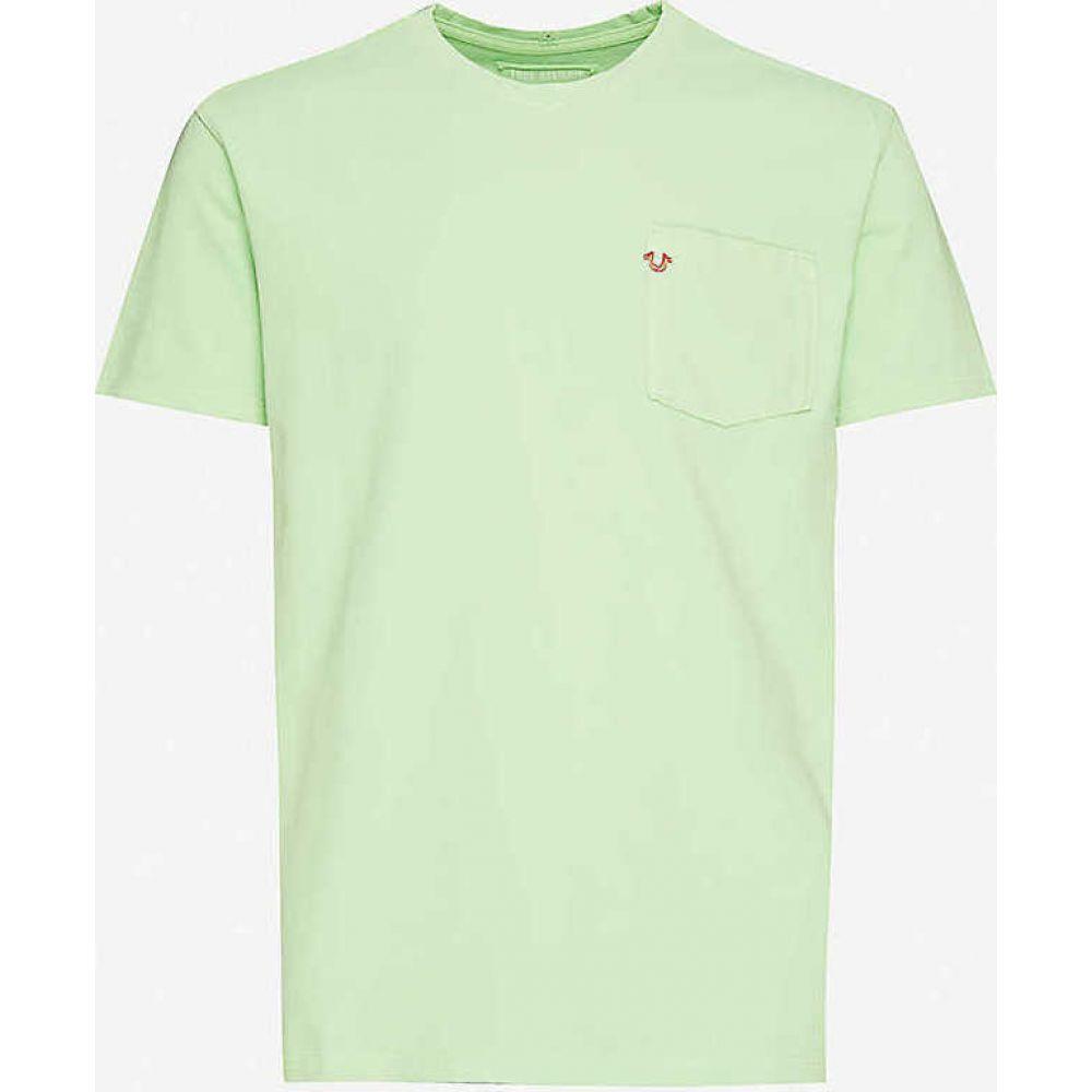 トゥルー レリジョン TRUE RELIGION メンズ Tシャツ トップス【Logo-embroidered organic cotton-jersey T-shirt】Mint