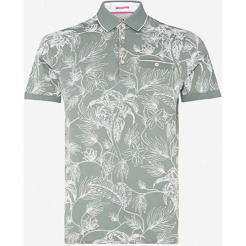 テッドベーカー TED BAKER メンズ ポロシャツ トップス【Teeleaf floral-print cotton-jersey polo shirt】KHAKI