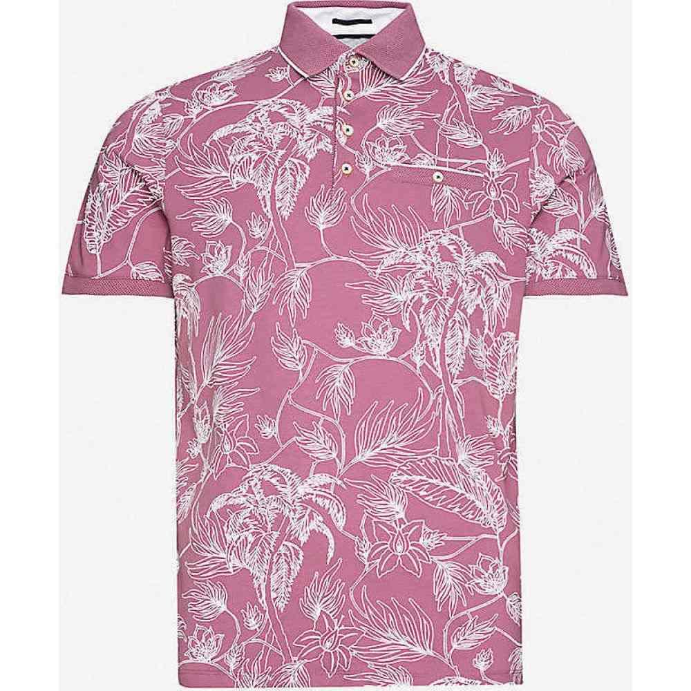 テッドベーカー TED BAKER メンズ ポロシャツ トップス【Teeleaf floral-print cotton-jersey polo shirt】PURPLE