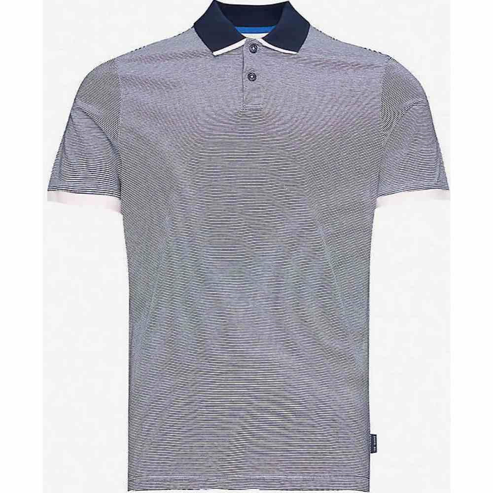テッドベーカー TED BAKER メンズ ポロシャツ トップス【Caffine striped slim-fit cotton polo shirt】NAVY