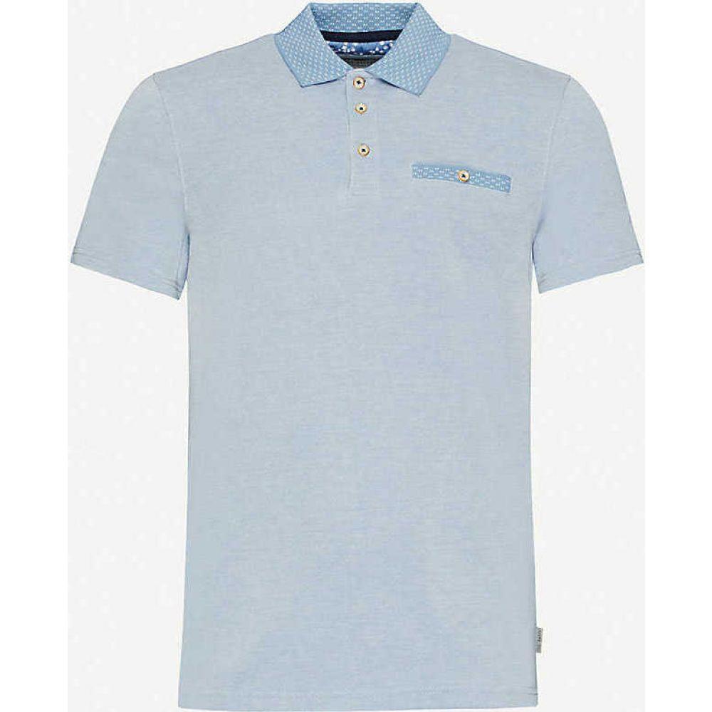 テッドベーカー TED BAKER メンズ ポロシャツ トップス【Doller woven pique polo shirt】MID-BLUE