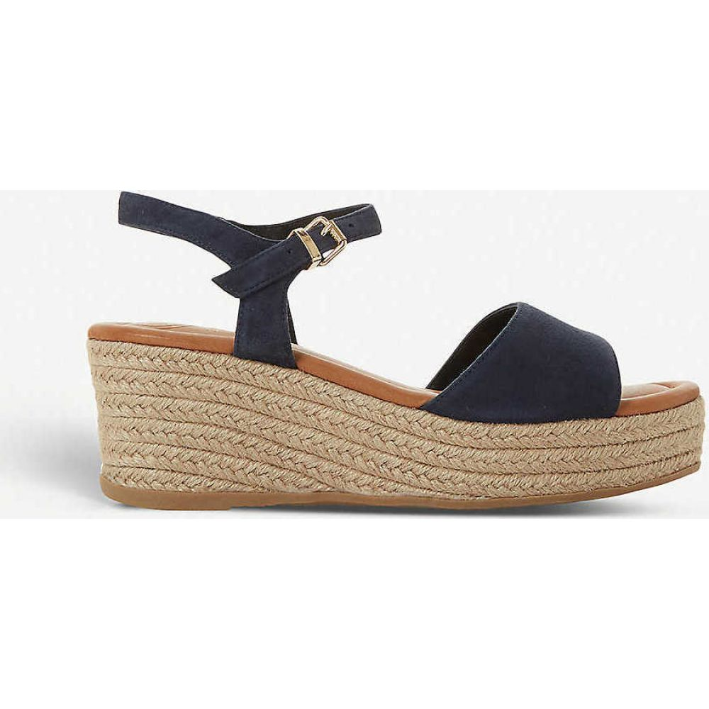 デューン DUNE レディース サンダル・ミュール ウェッジソール シューズ・靴【Kadi suede wedge sandals】NAVY-SUEDE