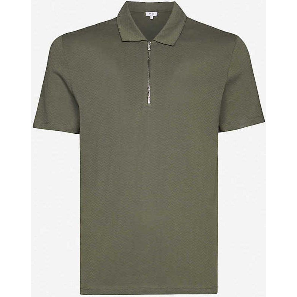 リース REISS メンズ ポロシャツ トップス【Jack geometric-print cotton polo shirt】SAGE