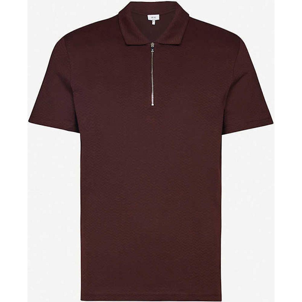 リース REISS メンズ ポロシャツ トップス【Jack geometric-print cotton polo shirt】BORDEAUX