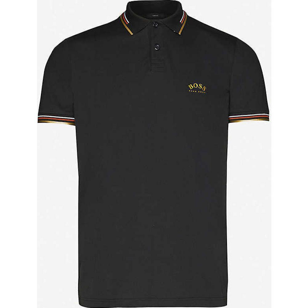 ヒューゴ ボス BOSS メンズ ポロシャツ トップス【Logo-embroidered slim-fit cotton-pique polo shirt】Charcoal