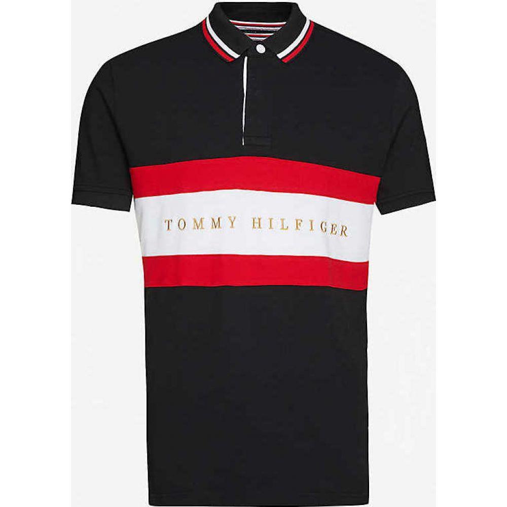 トミー ヒルフィガー TOMMY HILFIGER メンズ ポロシャツ トップス【Striped logo-embroidered regular-fit cotton-jersey polo shirt】BLACK