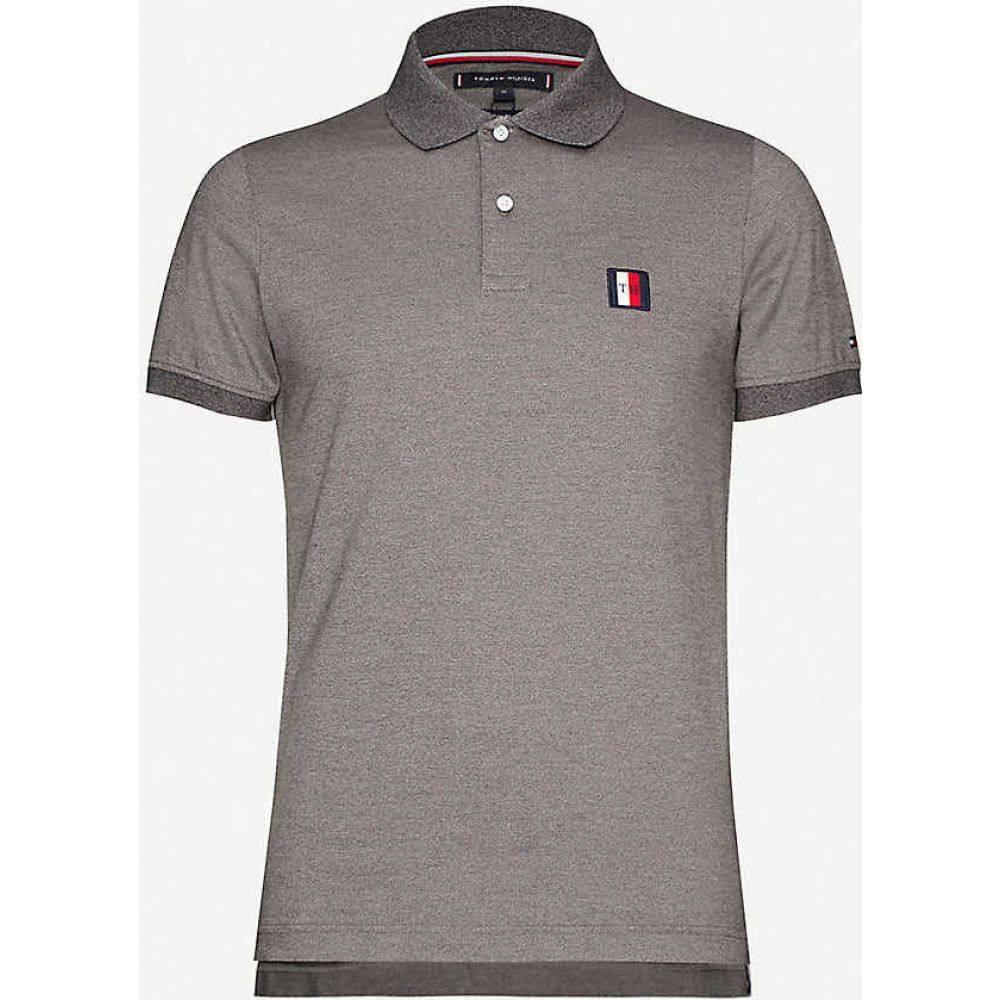 トミー ヒルフィガー TOMMY HILFIGER メンズ ポロシャツ トップス【Logo-embroidered cotton-jersey polo shirt】Nickel Grey