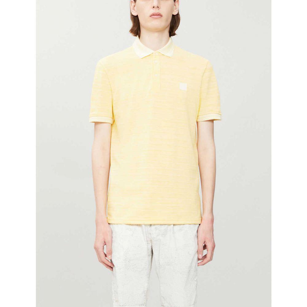 ヒューゴ ボス BOSS メンズ ポロシャツ トップス【Striped cotton-knit polo shirt】Medium Yellow