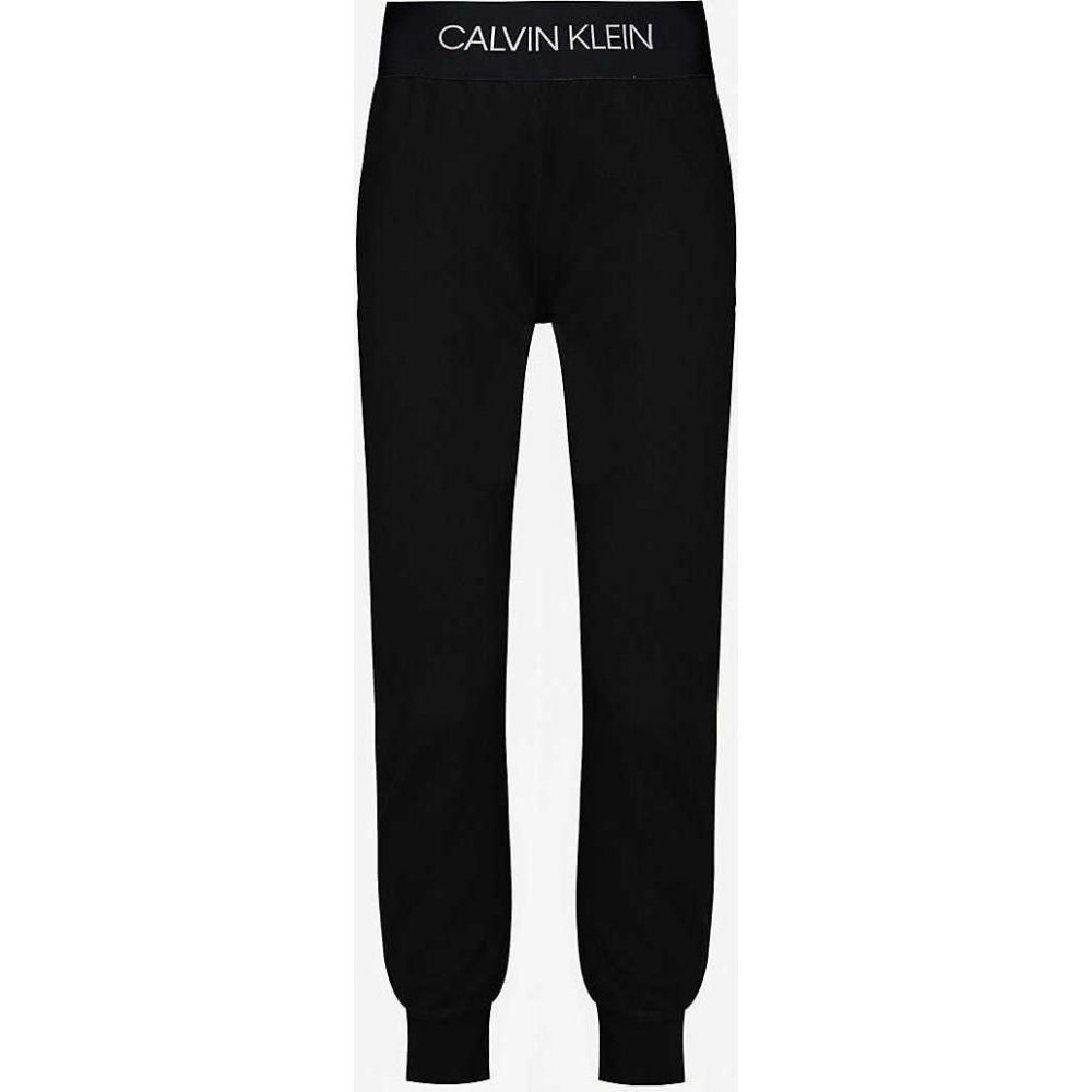 カルバンクライン CALVIN KLEIN レディース スウェット・ジャージ ボトムス・パンツ【Branded high-rise stretch-jersey jogging bottoms】CK BLACK