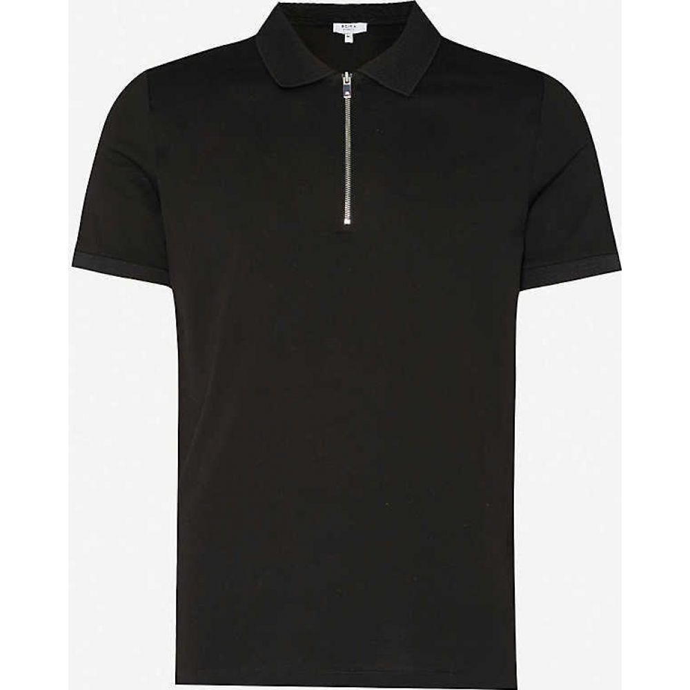 リース REISS メンズ ポロシャツ トップス【Jude cotton-pique polo shirt】BLACK
