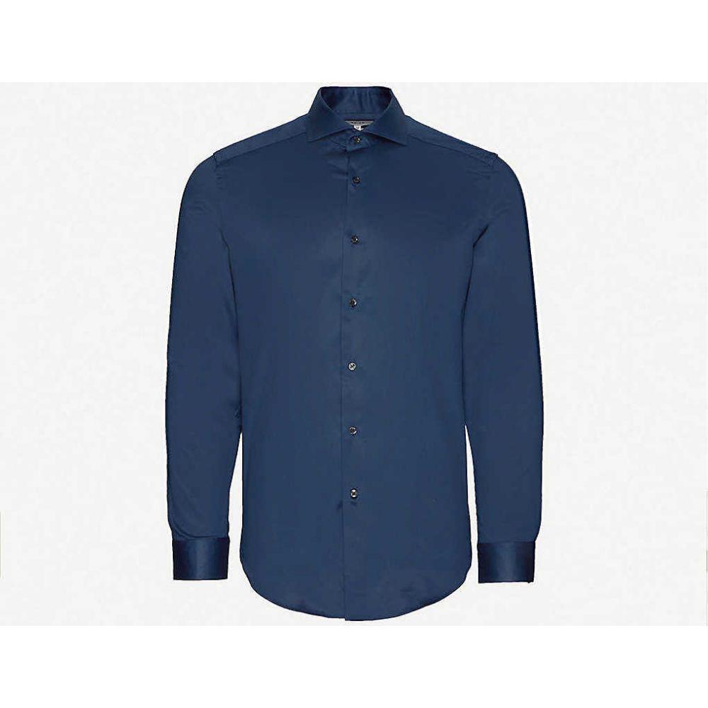 リース REISS メンズ シャツ トップス【Storm slim-fit cotton-poplin shirt】NAVY