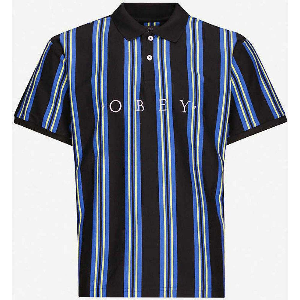 オベイ OBEY メンズ ポロシャツ トップス【Logo-embroidered cotton-jersey polo shirt】BLACK MULTI