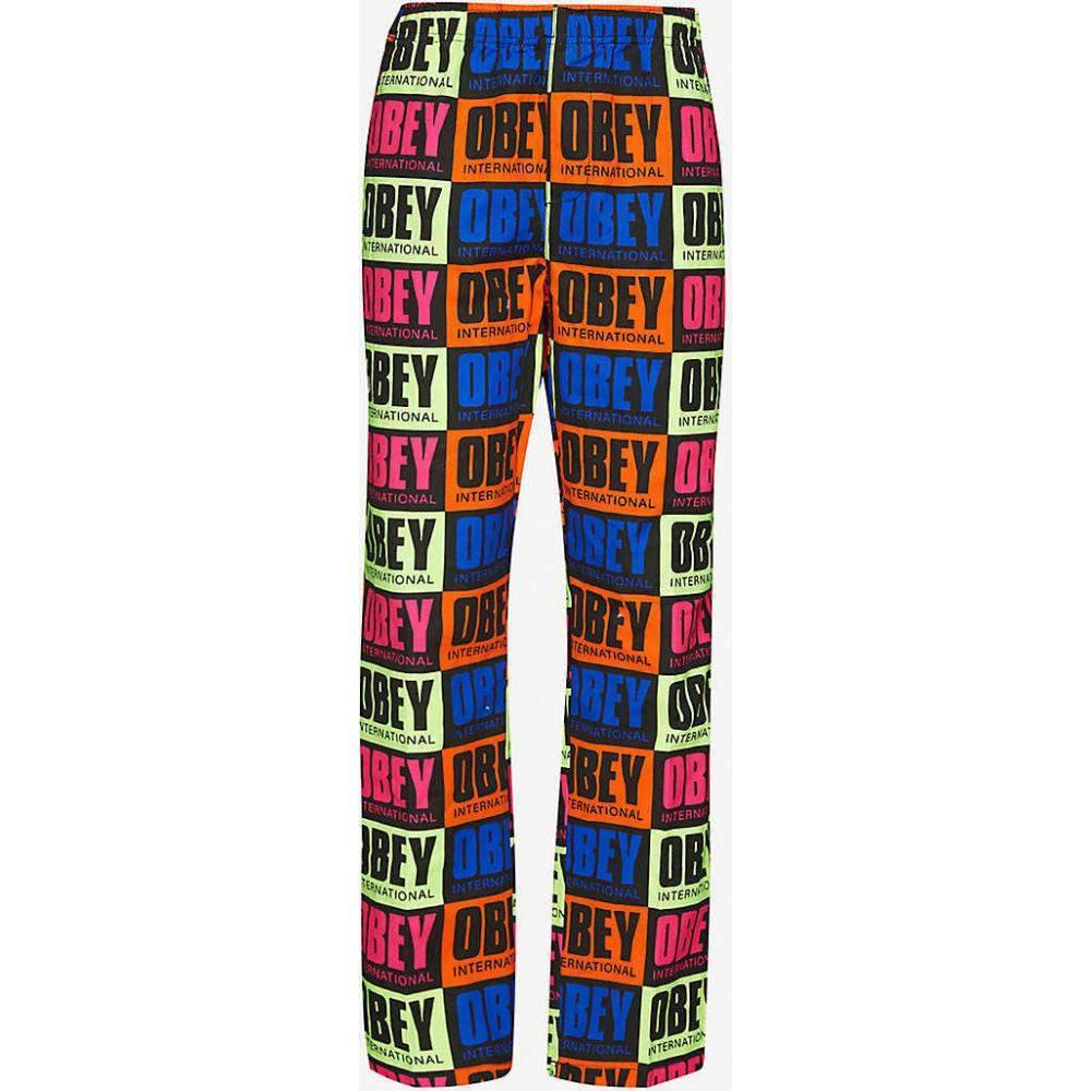 オベイ OBEY レディース ボトムス・パンツ 【Logo-print mid-rise cotton jogging bottoms】Multi