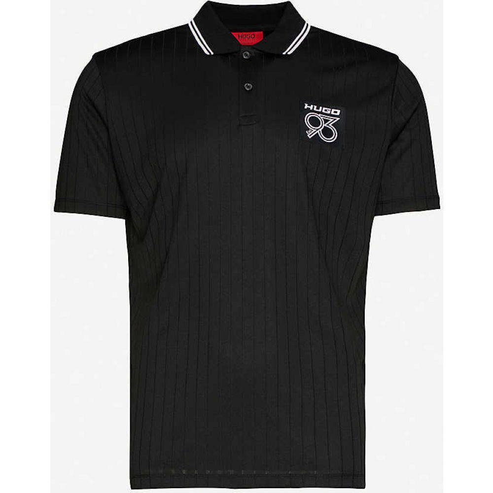 ヒューゴ ボス HUGO メンズ ポロシャツ トップス【Logo-print woven polo top】Black