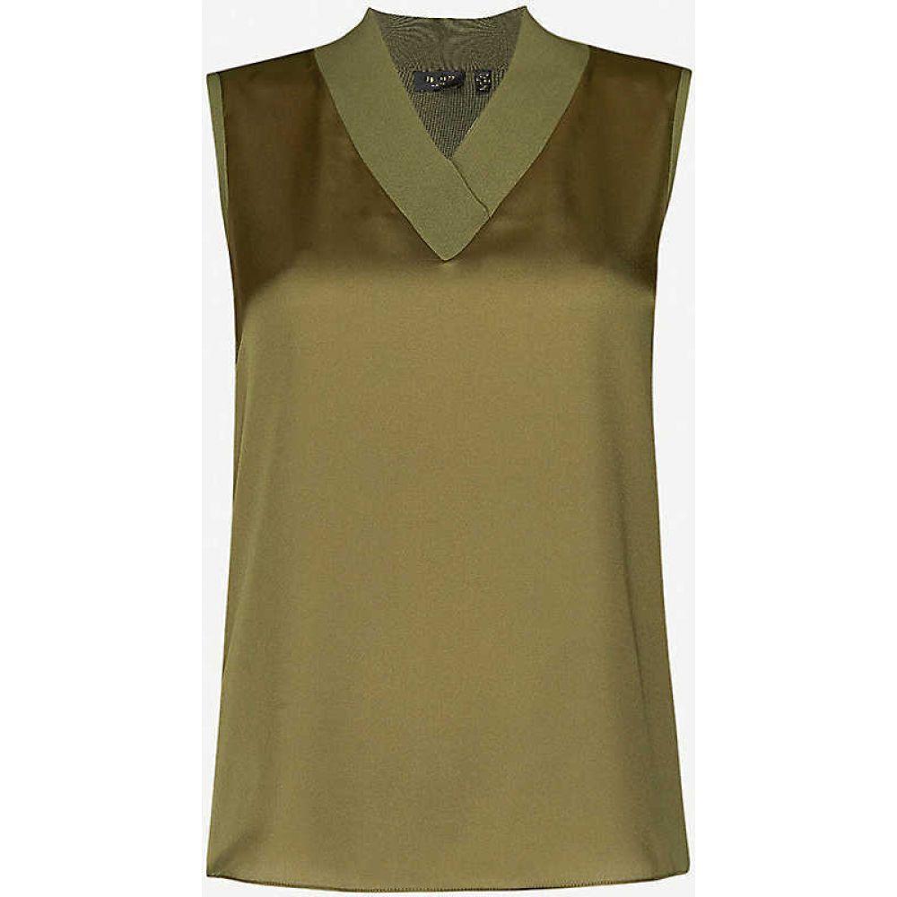 テッドベーカー TED BAKER レディース ノースリーブ トップス【Sleeveless satin-trim knitted top】OLIVE