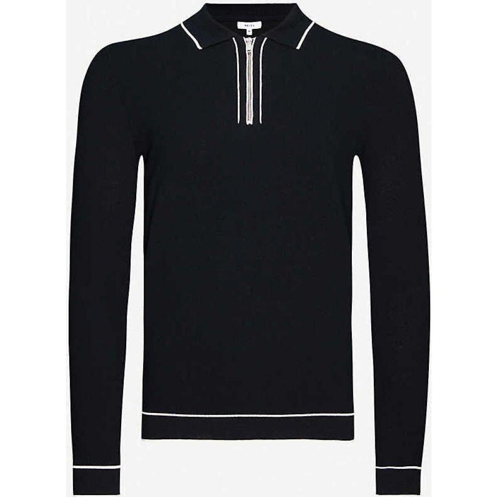 リース REISS メンズ ポロシャツ トップス【Lanark contrast-trim cotton-blend polo shirt】BLACK