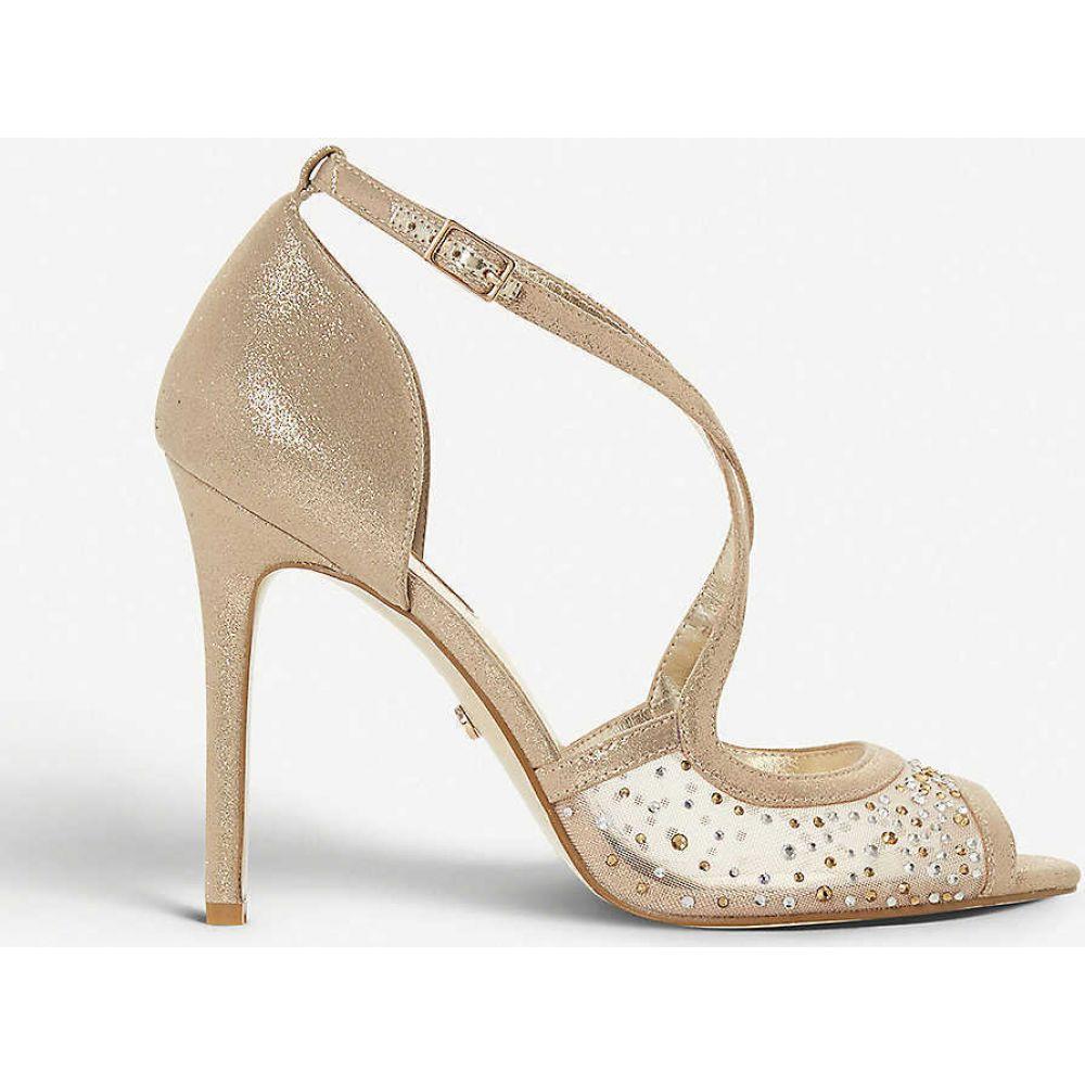デューン DUNE レディース サンダル・ミュール シューズ・靴【Misa diamante and mesh stiletto-heel sandals】GOLD-FABRIC