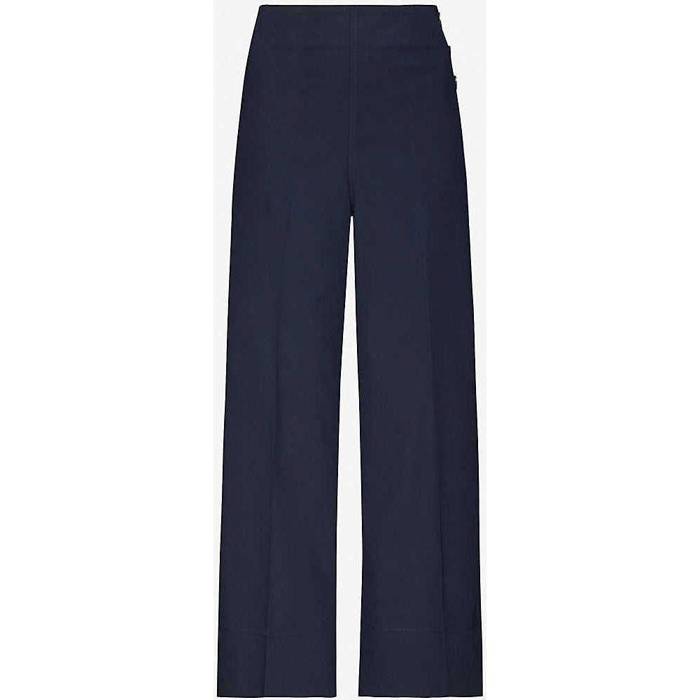 ホイッスルズ WHISTLES レディース ボトムス・パンツ 【Cadie side button stretch-cotton trousers】NAVY