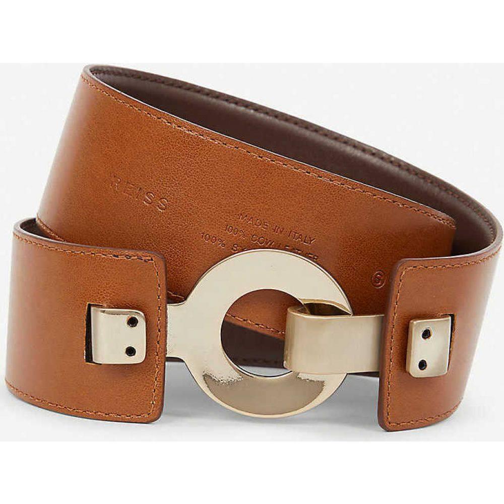 リース REISS レディース ベルト 【Brass-clasp leather belt】TAN