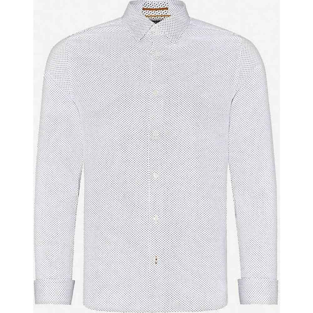 テッドベーカー TED BAKER メンズ シャツ トップス【Zak geometric-pattern modern-fit stretch-cotton shirt】WHITE