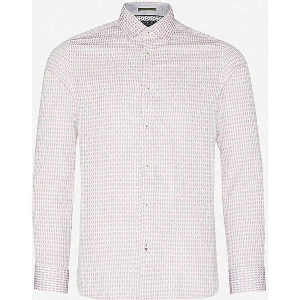 テッドベーカー TED BAKER メンズ シャツ トップス【Rewrite geometric-print modern-fit cotton shirt】PINK