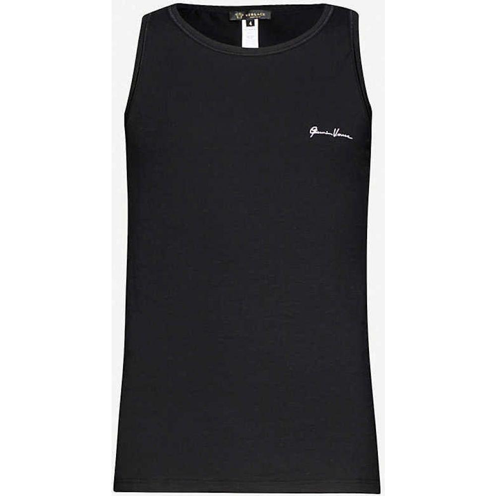 ヴェルサーチ VERSACE メンズ タンクトップ トップス【Logo-print cotton-jersey vest】BLACK