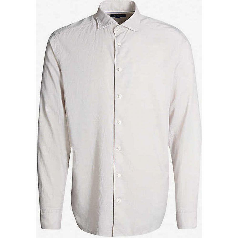 イートン ETON メンズ シャツ トップス【Slim-fit cotton shirt】Offwhite/Brown