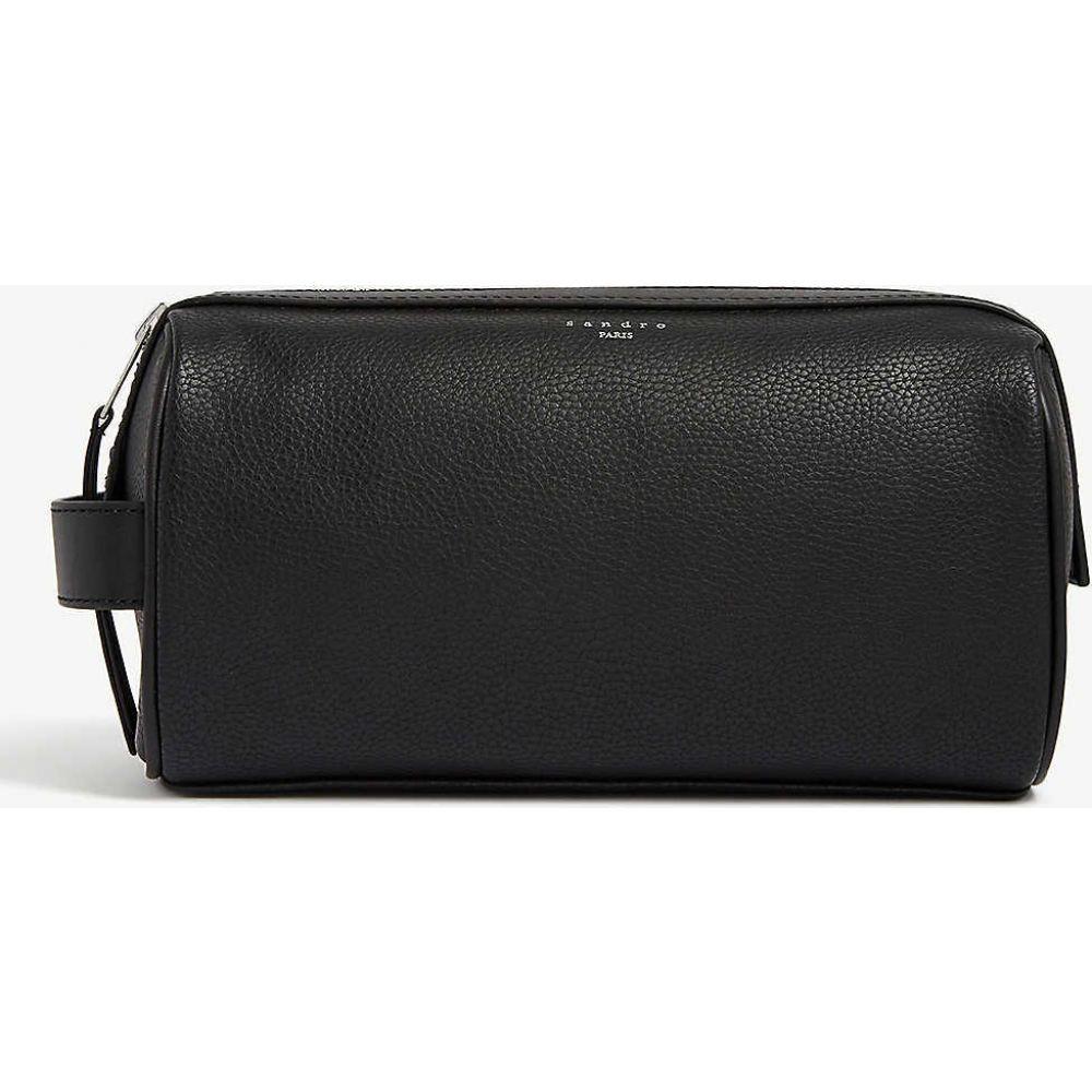 サンドロ SANDRO メンズ ポーチ トラベルポーチ【Grained leather wash bag】BLACK